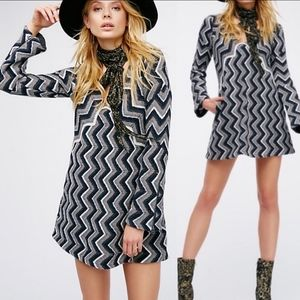 FREE PEOPLE Rhiannon Chevron wool sweater dress